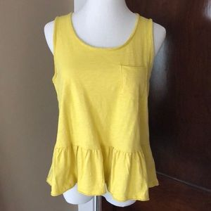 Anthropologie Frilly Yellow Tank S